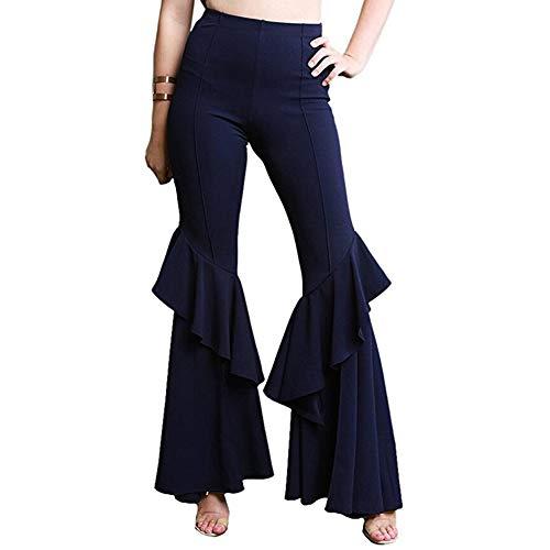 GUOLEZEEV Women Casual High Waist Leggings Ruffle Hem Stretchy Elegant Long Pant S ()
