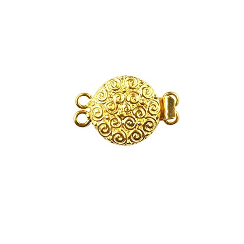 18K Gold Overlay Multi Strand Clasp With 2 Hole CG-382-18MM
