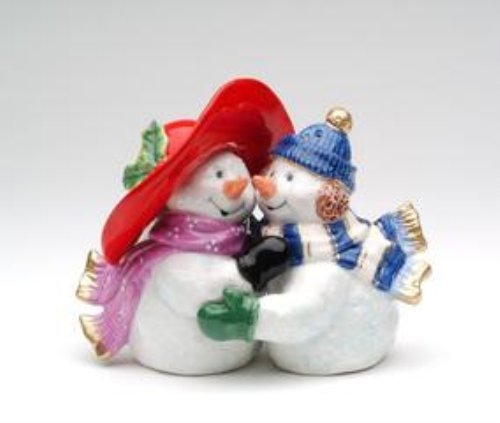 4.13 Inch Romantic Snowman Couple Figurine Salt and Pepper Shaker CG