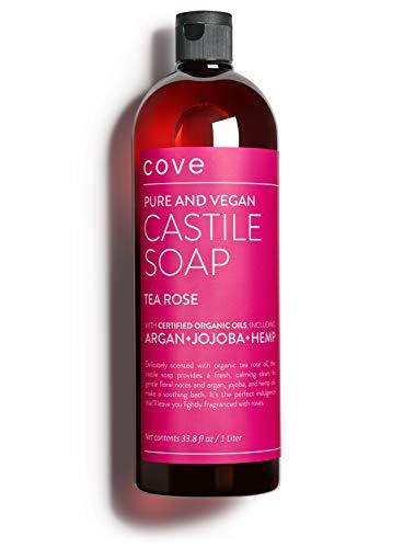 Cove Castile Soap - Tea Rose 33.8 oz / 1 Liter - Organic Argan, Hemp, Jojoba Oils (Oil Castile Soap)