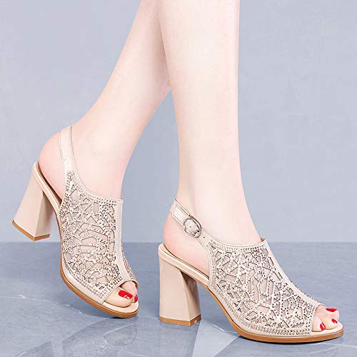 Thick 9Cm Forty Out Heel Champagne Rome Thick KPHY Heel Sandals Bottom High Hollowed Shoes Summer Color fqBEwd