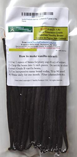 Vanilla Products USA 4 oz (1/4 LB) Tahitian Near Gourmet Grade Vanilla Beans 6~7 grown in PNG