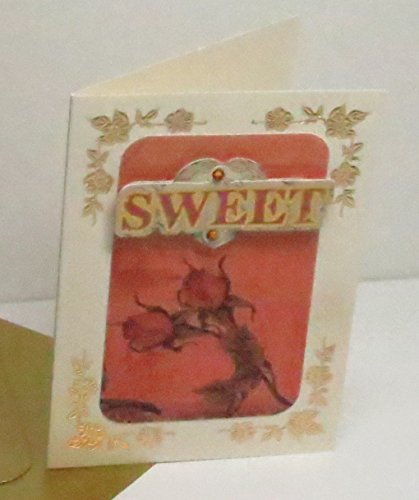 (Handmade 3D Sweet Red Rose Vellum on Cream Blank Card with Gold Floral Corners & Gold Envelope - one of a)