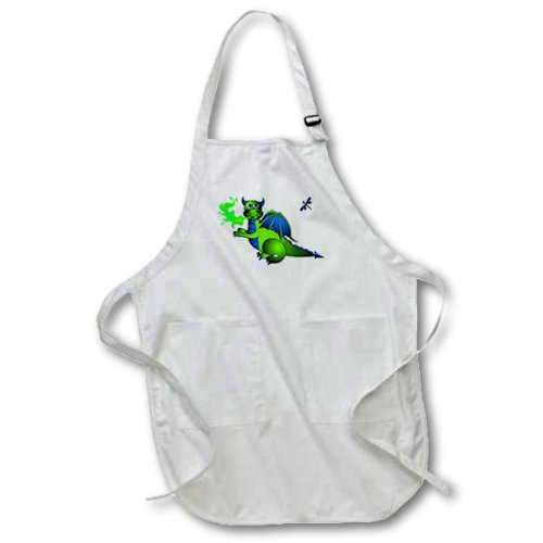 3dRose apr_24665_1 Green and Blue Fire Breathing Dragon and Dragonfly-Full Length Apron with Pockets, 22 by 30-Inch, White