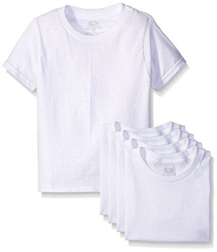 Fruit of the Loom Big Boys' White Crew Tee , White, Small (Pack of 5)