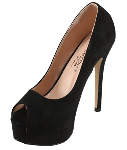 DbDk Women's Brodie-3 Faux Suede Peep-Toe Platform High Heel Dress Pumps (10, Black) (Pumps Suede Toe Peep Platform)