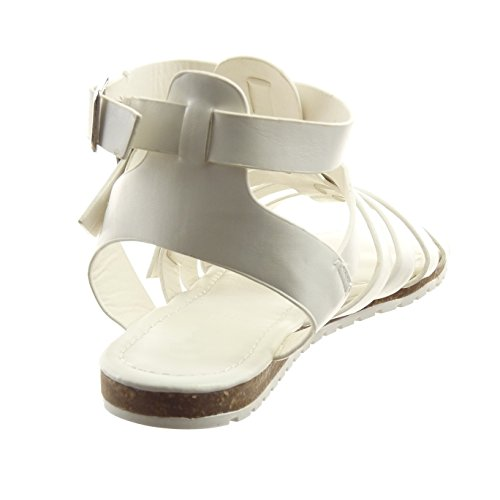 freio Sopily Loop Sandálias Moda Femininas Romanas Da metálico Multi Sandálias Branco Sapatos arq0waxv