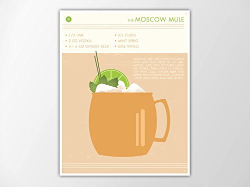 picture regarding Moscow Mule Recipe Printable named : Moscow Mule Cocktail Artwork Print, Retro Foodstuff and