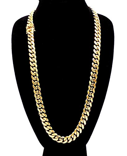 (Dubai Collections 18K Miami Cuban Link Chain 9MM, Real Solid Heavy Premium Gold Overlay Jewelry Pendant Necklace Valentine Gift 26 Inch)