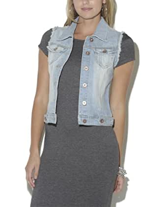 Wet Seal Women's Fray Full Length Denim Vest XL Med Sndblst
