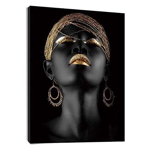 LB African Woman Canvas Wall Art Africa Black Girl Golden Headdress Beauty Painting Canvas Prints Wall for Living Room Bedroom Bathroom Home Decor Framed Ready to Hang,16x20 inch (Best Way To Hang Paintings)