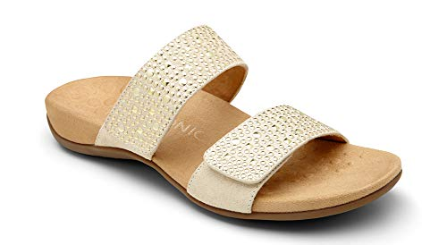 Vionic Women's Rest Samoa Slide Sandal - Ladies Adjustable Walking Sandals with Concealed Orthotic Arch Support Gold 10 Medium US (Best Dress Shoes For Feet With Bunions)