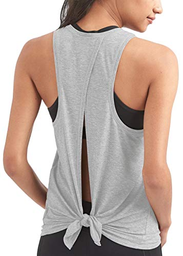 Bestisun Women's Sleeveless Exercise Fall Cute Light Weight Athletic Backless Tank Tops Casual T-Shirt Medium Top Heather Gray ()