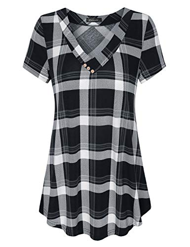 Shirt Tunic V-neck - Vinmatto Women's Short Sleeve V Neck Flowy Tunic Top(XXL,Plaid Black)