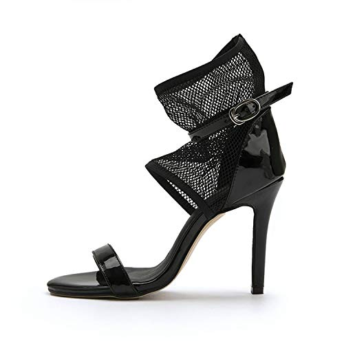 Women Sandals Patent Leather+Mesh Thin High Heel Round Open-Toed,Black,9