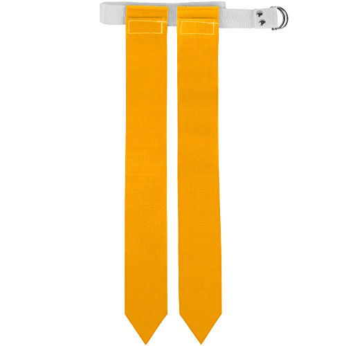 Flag Football Belt & Flags - Includes 1 Belt with 2 Flags, Accessories for Flag & Touch Games, Practices, & Training by Crown Sporting Goods (Yellow)