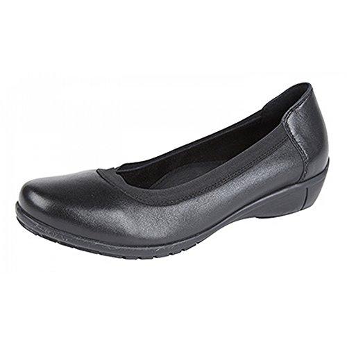 Scarpe Casual In Pelle Fascia Elastica Top Comfort Mod Womens / Ladies Nere
