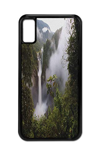 Ambesonne Nature iPhone X Case, San Rafael Waterfalls, Shockproof TPU Rubber Protective Phone Cover for iPhone X/XS, 6