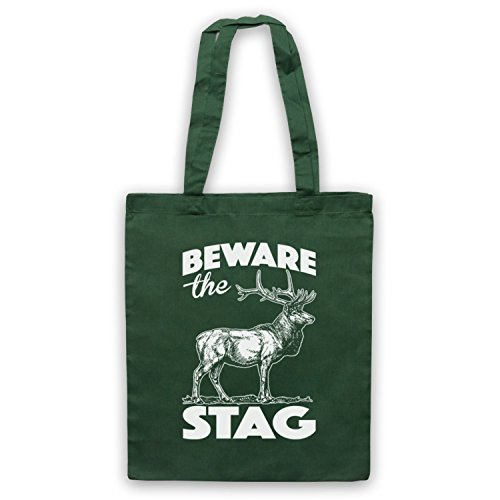 Dark Tote Stag Stag Slogan Bag Do Green The Beware HwqB0Tna