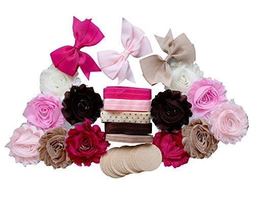 - Malt Shoppe : DIY Headband Making Station |Kit Makes 10+ Hair Pieces : Shabby Chiffon Craft Roses FOE Fold Over Elastic for Baby Showers | Pink, Brown, Cream