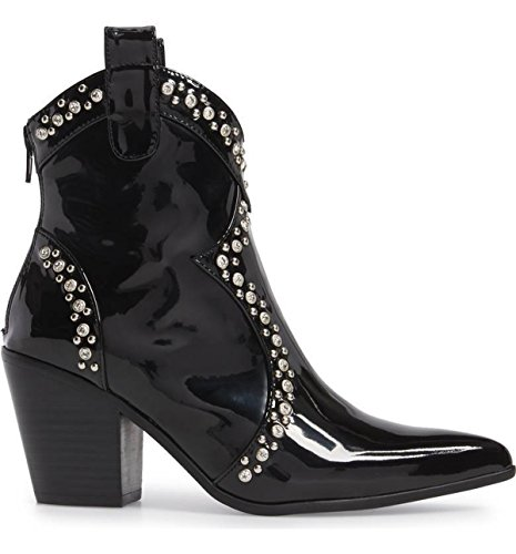 Jeffrey Campbell Nightwing Black Patent Clear Crystal Stud Western Ankle Bootie mwRGiE