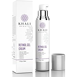 Khali Beauty Retinol Moisturizer Gel Cream for Face and Eye Area--Anti-Wrinkle Facial Night Cream-All Natural, Peptides, Hyaluronic Acid,Sea Kelp Bioferment,Matrixyl 3000,Vitamin C&E- 1.7oz