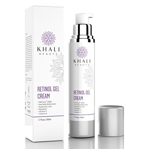 Khali Beauty Retinol Moisturizer Gel Cream for Face and Eye Area--Anti-Wrinkle Facial Night Cream-All Natural, Peptides, Hyaluronic Acid,Sea Kelp Bioferment,Matrixyl 3000,Vitamin C&E- 1.7oz