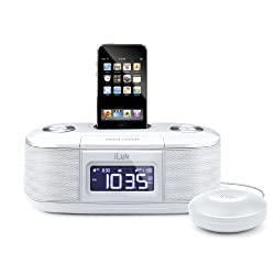 iLuv White Dual Alarm Clock with Bed Shaker for your iPod - iMM153WHT