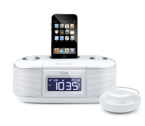 Iluv Ipod Docking - iLuv White Dual Alarm Clock with Bed Shaker for your iPod - iMM153WHT