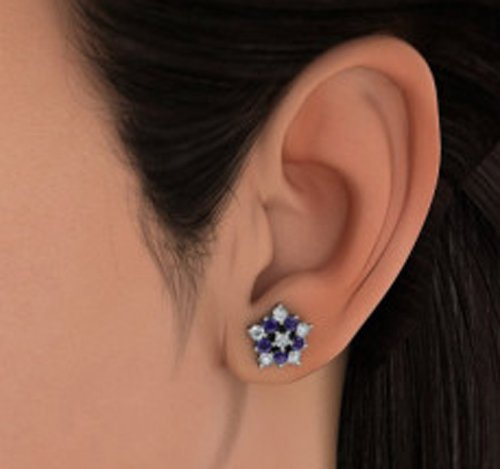 18 K Or Blanc 0,38 CT TW White-diamond (IJ | SI) et iolite Boucles d'oreille à tige