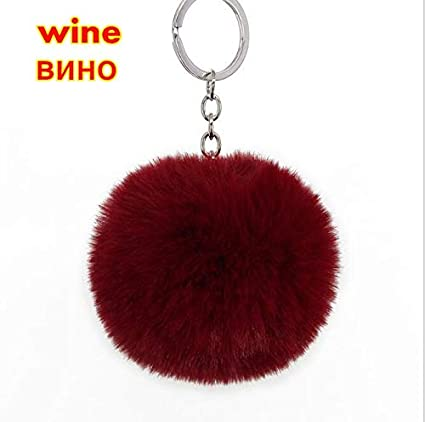 Amazon.com: Key Chains - 8cm Fluffy Pom Pom Ball Keychain ...