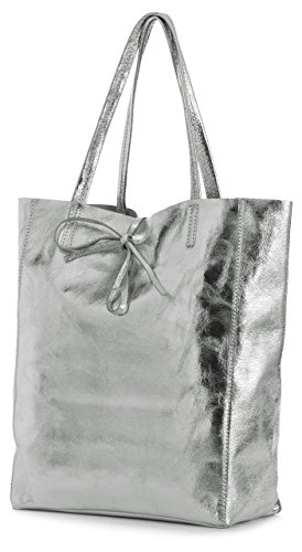 LIATALIA Genuine Italian Soft Leather Leightweight Large Hobo Tote Shopper Shoulder Handbag - ASTRID [Metallic Deep Silver]