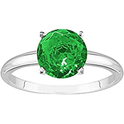 1/2 - 5 Carat 14K White Gold Round Emerald 4 Prong Diamond Engagement Ring (AAA Quality)