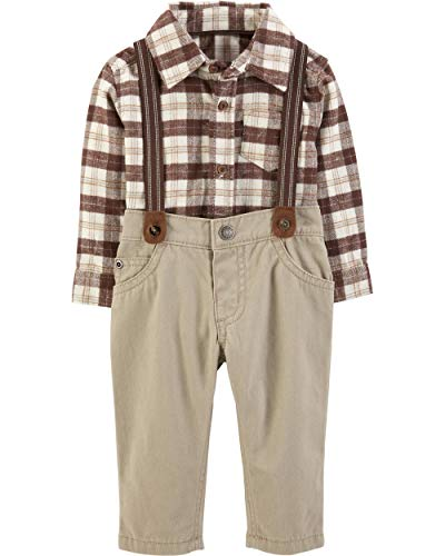 Carter's Baby Boys' 3 Piece Striped Print Dress Me Up Set (18 Months, Khaki)