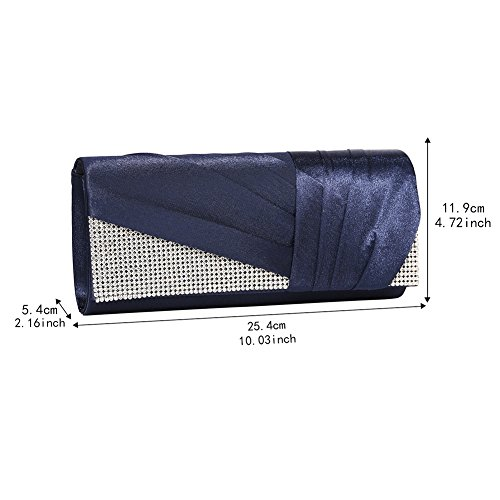 Purse Jubileens Blue Womens Clutch Fashion Elegant Navy Evening Pleated Bag Satin Crystal AAqrPwz
