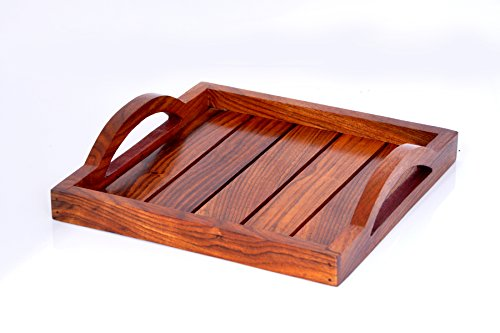 Hashcart Indian Rosewood Handmade  Handcrafted Set of 2 Wooden Serving Tray for Dining Tableware, Table Décor, Kitchen Serveware Accessory, Breakfast…