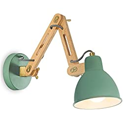 LCMJ Bedroom Wall Lamp Swing Arm Reading Light Wooden Iron Modern Minimalist 1KG White Green E27