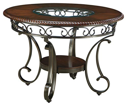 Ashley Furniture Signature Design - Glambrey Dining Room Table - Round - Brown (Table Glass Rectangle Dining)