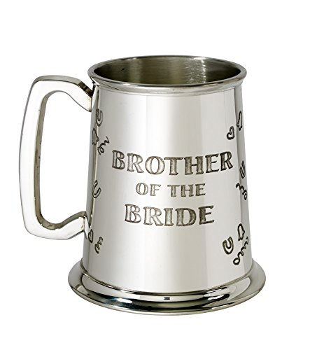 Bright Pewter Tankard (Wentworth Pewter - Brother of the Bride 1 pint pewter Tankard)