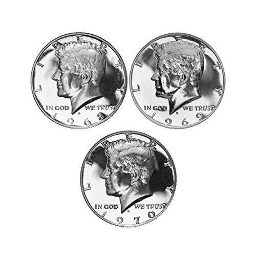 1968 - 1970 S Kennedy Proof Half Dollar 40% Silver Proof Run 3 Coins Gem Proof ()