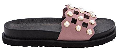 Cambridge Select Womens Open Toe Geometric Cutout Faux Pearl Flatform Flat Slip-On Slide Sandal Mauve 9AKhwog9Je