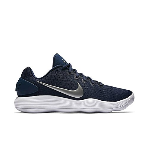 Nike Men's React Hyperdunk 2017 Low Midnight Navy/Metallic Silver/White Synthetic Running Shoes 9.5 M US by NIKE