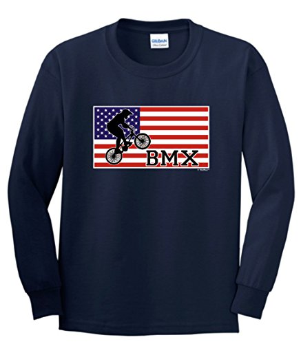 Pride Cycling BMX Bikes Youth Long Sleeve T-Shirt Large Navy ()