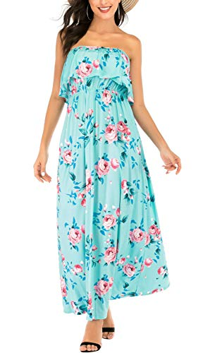 MIDOSOO Womens Summer Strapless Floral Party Dress Vintage Loose Beach Maxi Dress with Pocket-Flower Light Green-L