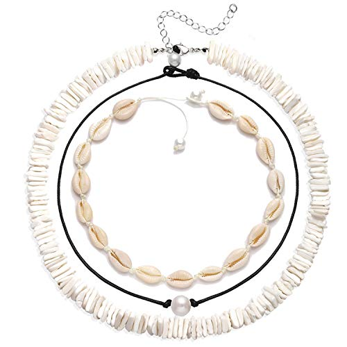 XOCARTIGE Puka Shell Necklace for Women Boho Cowrie Shell Choker Necklace Anklets Set Hawaiian Chips Shell Collar Surfer Choker Pearl Cord Necklace Set (3PC Choker Set)
