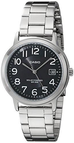 Casio Unisex MTP-S100D-1BVCF Solar Easy-To-Read Silver-Tone Watch