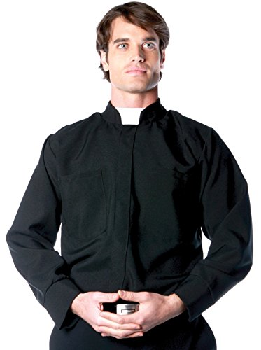 Underwraps Costumes Men's Priest Costume - Long Sleeve Shirt, Black/White, X-Large ()