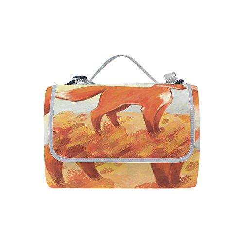 coosun Fox Gemälde Picknick Decke Tote Handlich Matte Mehltau resistent und wasserfest Camping Matte für Picknicks, Strände, Wandern, Reisen, Rving und Ausflüge