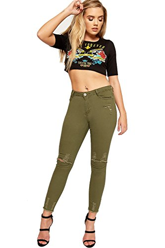 Dames Kaki 42 tendue WEARALL Genou De Maigre 34 Jeans Vert Toile Femmes Afflig Poche Jambe Ripped aqngBZH