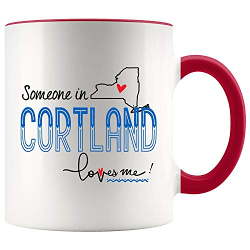 Mother Day Gifts For Mom Someone In Cortland New York NY Loves Me! Mother Daughter Gifts From Daughter Best Mothers Day Presents Coffee Mugs Tea Cup 11OZ Accent Mug